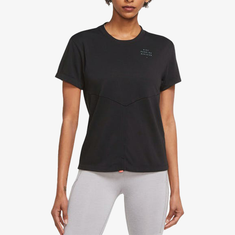 NIKE W NK DF RUN DVN TOP SS RUCHED
